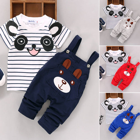 Short Sleeve Bear Overalls Suit
