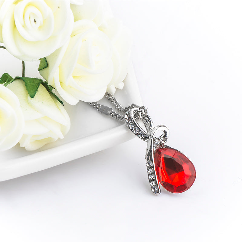 Red crystal ribbon pendant necklace silver panhandle jewelry red crystal ribbon pendant necklace silver aloadofball Gallery