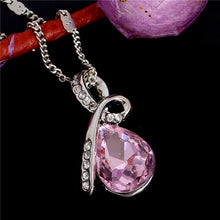 Pink Crystal Ribbon Pendant Necklace Silver
