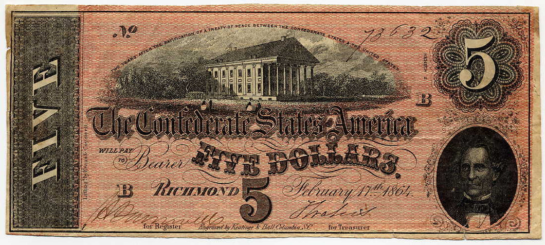 Confederate States of America $5, Richmond, February 17, 1864