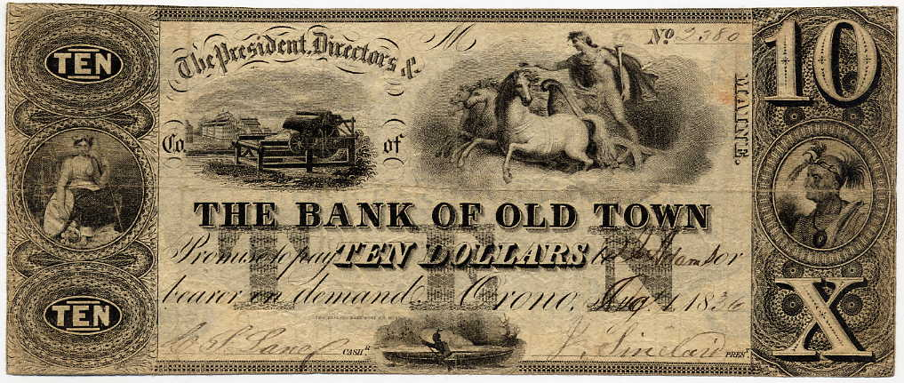 Maine-Orono, The Bank of Old Town $10, August 1, 1836