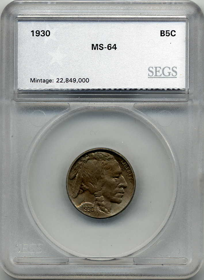 1930 5 Cents, Buffalo Nickel, SEGS MS64