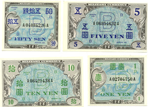 Japan 50 Sen, 1 Yen, 5 Yen, 10 Yen Allied Military Currency, Series 100