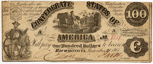 Confederate States of America $100, Richmond, September 2, 1861