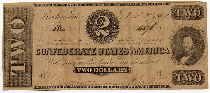 Confederate States of America $2, December 2, 1862