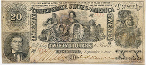 Confederate States of America $20, September 2, 1861