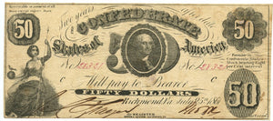 Confederate States of America $50, July 25, 1861