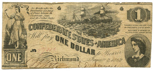Confederate States of America $1, June 2, 1862