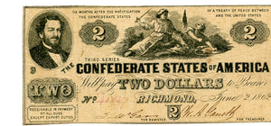 Confederate States of America $2, June 2, 1862