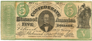 Confederate States of America $5, September 2, 1861