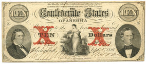 Confederate States of America $10, September 2, 1861