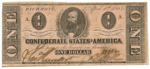 Confederate States of America $1, April 6, 1863