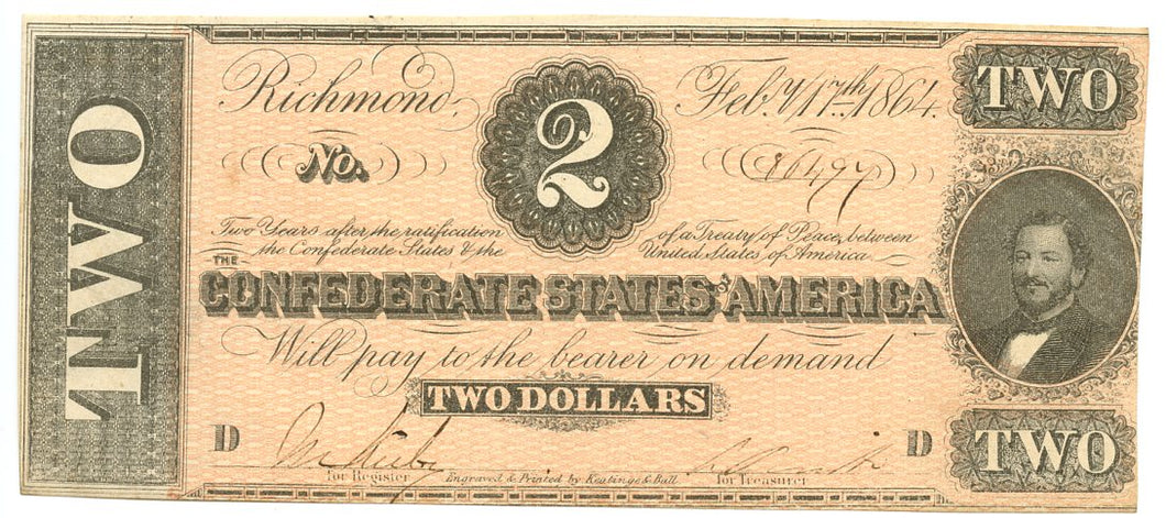 Confederate States of America $2, February 17, 1864