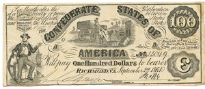 Confederate States of America $100, T-13CT, September 2, 1861