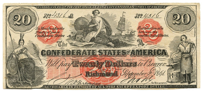 Confederate States of America $20, T-19CT, September 2, 1861