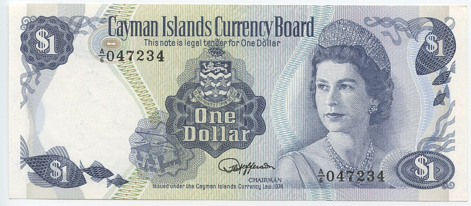 Cayman Islands $1, 1974, P 5E