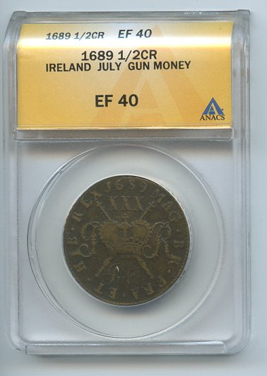 Ireland 1/2CR Gun Money, 1689