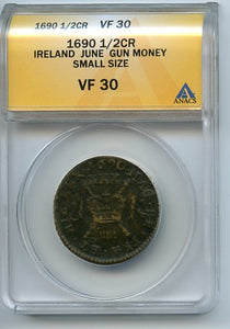 Ireland 1/2CR Gun Money, 1690