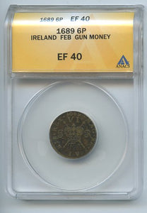 Ireland 6P Gun Money, 1689