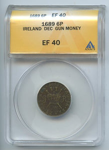 Ireland Gun Money, 6 Pence, 1689