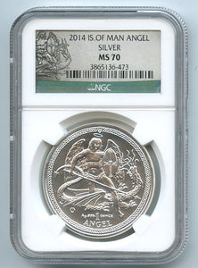 Isle of Man, One Ounce Silver Angel, 2014, MS 70