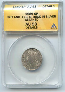Ireland 6P Struck in Silver, 1689