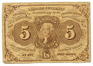 5 Cents, U.S. Postage Currency, 1st Issue, 1862/63, FR. 1230