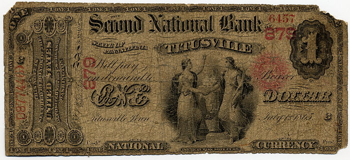 Pennsylvania-Titusville, The Second National Bank of Titusville $1, 1865 Original