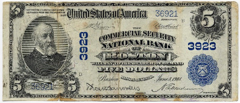 Massachusetts-Boston, The Commercial Security National Bank of Boston $5, 1902 PB