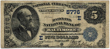 Maryland-Baltimore, Maryland National Bank of Baltimore $5, 1882