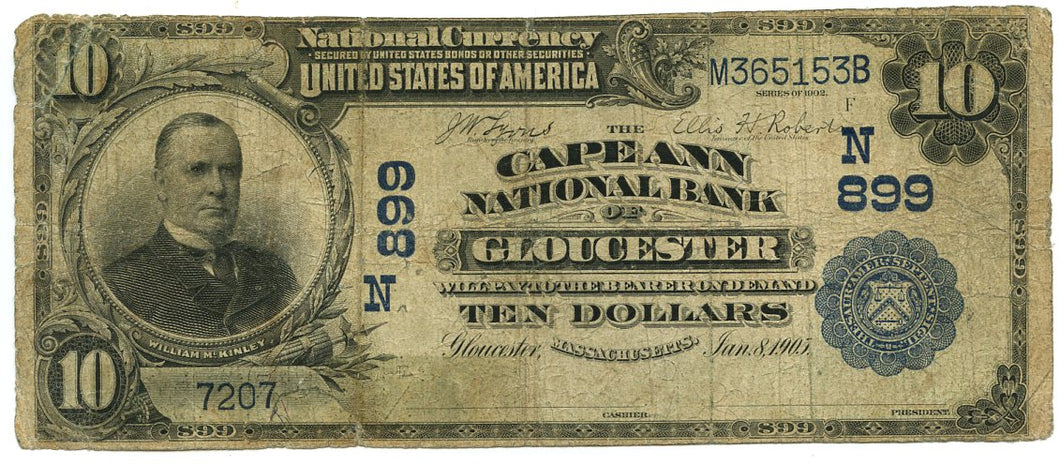 Massachusetts-Gloucester, The Cape Ann National Bank of Gloucester $10, 1902 DB