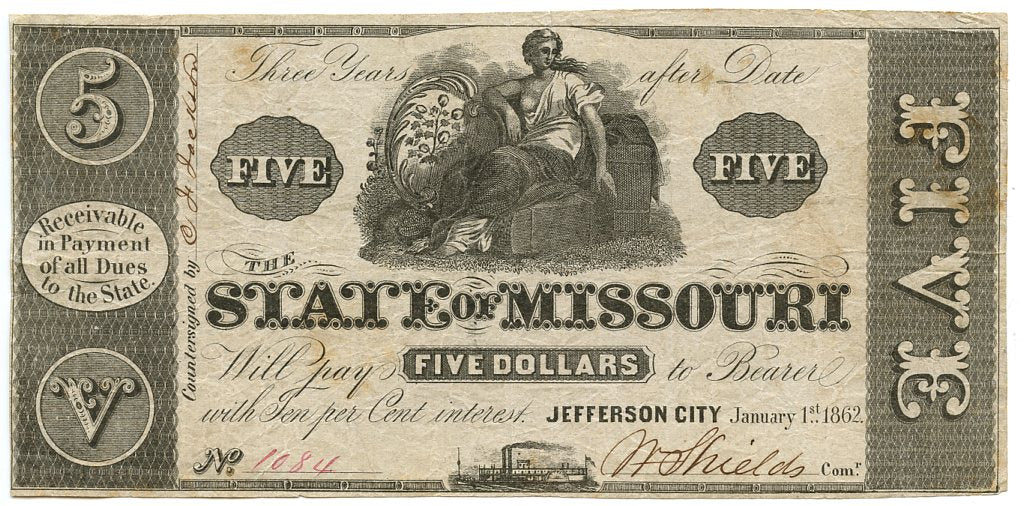 Missouri-Jefferson City, The State of Missouri $5, January 1, 1862