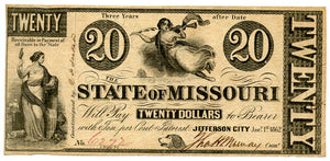 Missouri-Jefferson City, The State of Missouri $20, January 1, 1862