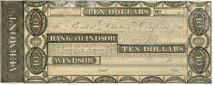 Vermont-Windsor, Bank of Windsor $10, 18_