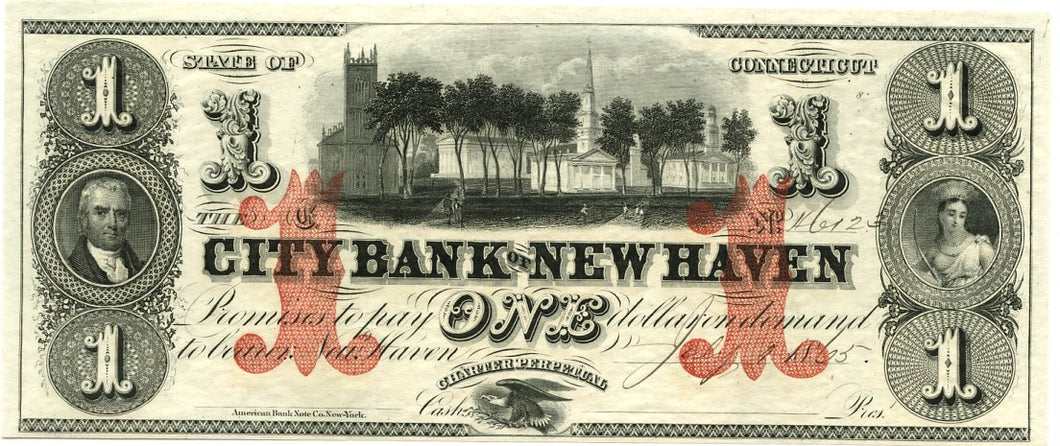 Connecticut-New Haven, The City Bank of New Haven $1, July 1, 1865
