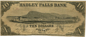 Massachusetts-Holyoke, The Hadley Falls Bank $10, April 8, 1838