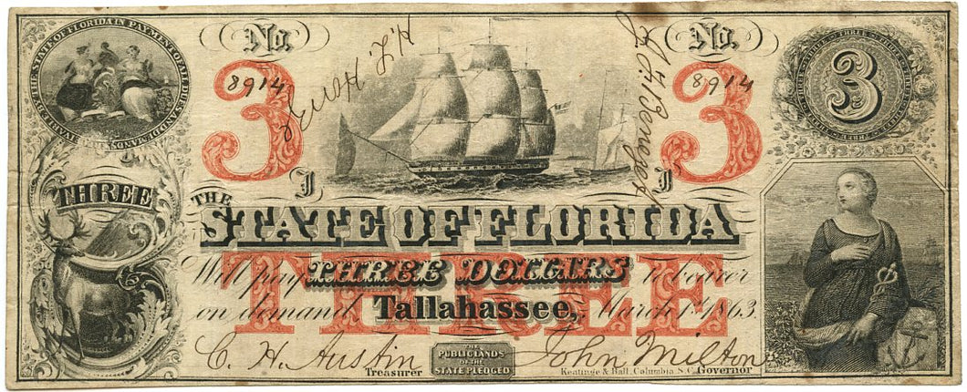 Florida-Tallahassee, The State of Florida $3, March 1, 1863