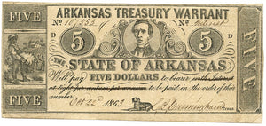 Arkansas, The State of Arkansas Treasury Warrant $5, October 22, 1863