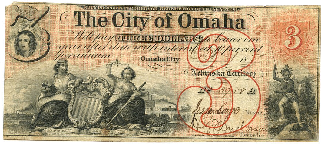 Nebraska-Omaha City, The City of Omaha $3, October 1, 1857