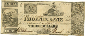 Connecticut-Hartford, Phoenix Bank $3, September 2, 1849