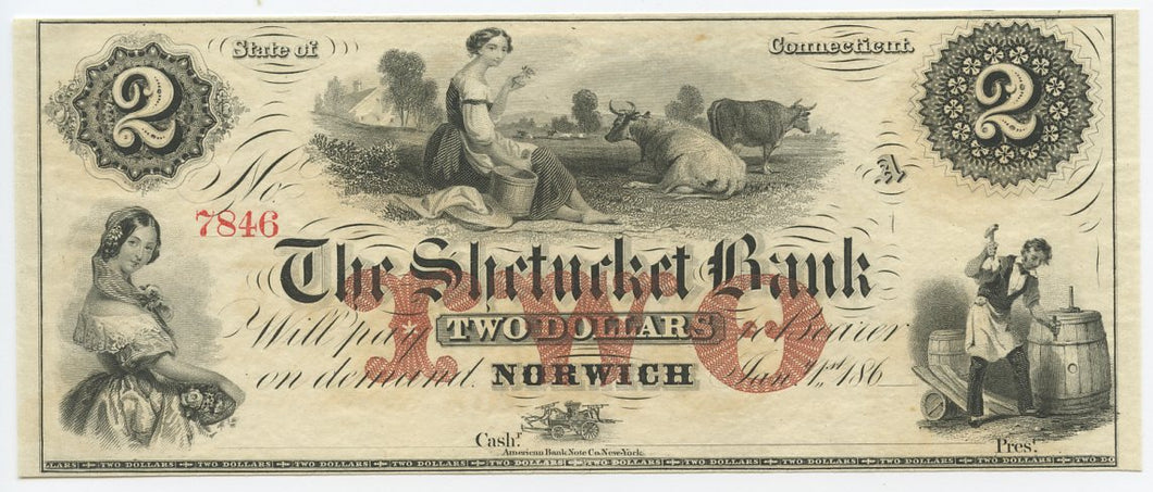 Connecticut-Norwich, The Shetucket Bank $2, 186_