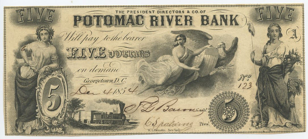 Washington D.C.-Georgetown, Potomac River Bank $5, December 4, 1854