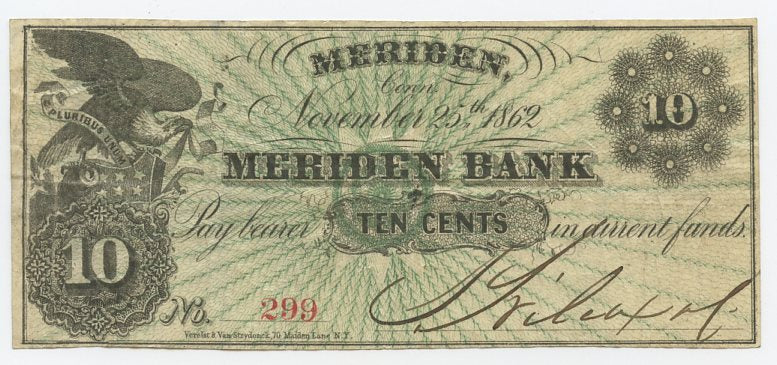 Connecticut-Meriden, Meriden Bank Wilcox & Co. 10 Cents, November 25, 1862