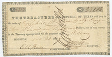 Texas-Houston, Treasury Warrant $281, November 24, 1837