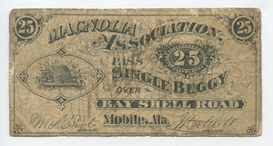Alabama-Mobile, Magnolia Association Pass Single Buggy, 25 Cents, Apr. 4, 1873