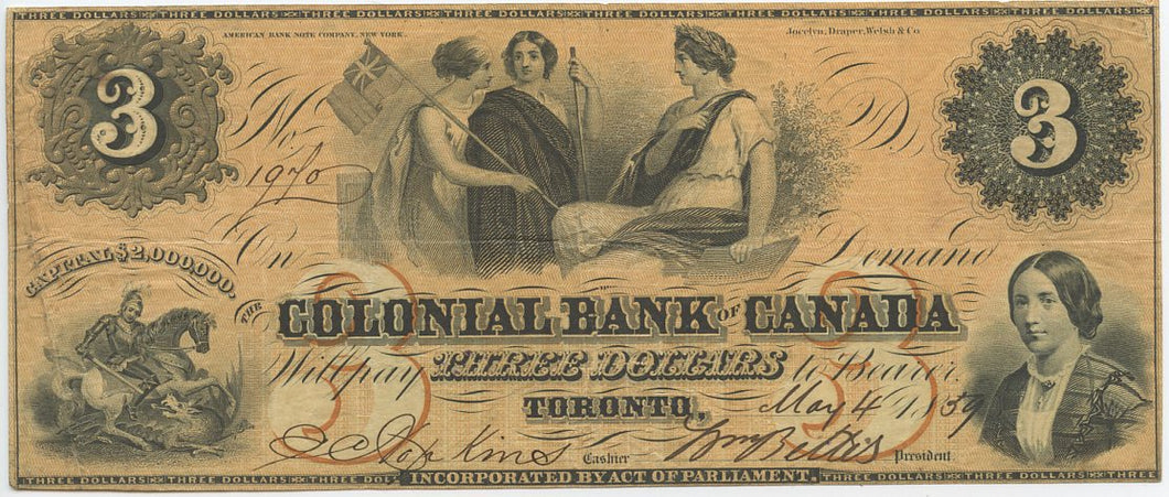 Canada-Toronto, The Colonial Bank of Canada $3, May 4, 1859