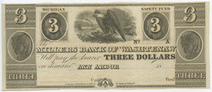 Michigan-Ann Arbor, The Millers Bank of Washtenaw $3, 18_