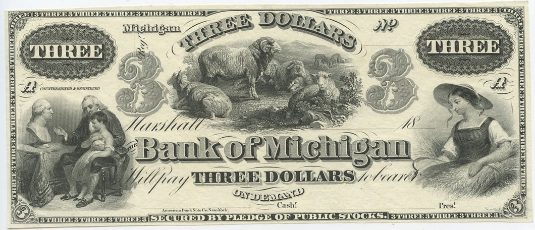 Michigan-Marshall, The Bank of Michigan $3, 18_