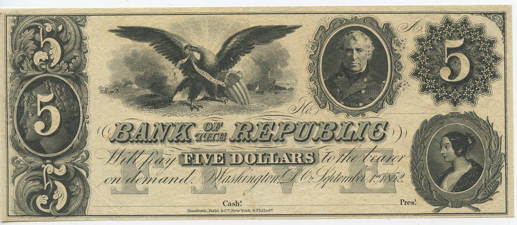 Washington D.C., Bank of the Republic $5, September 1, 1852