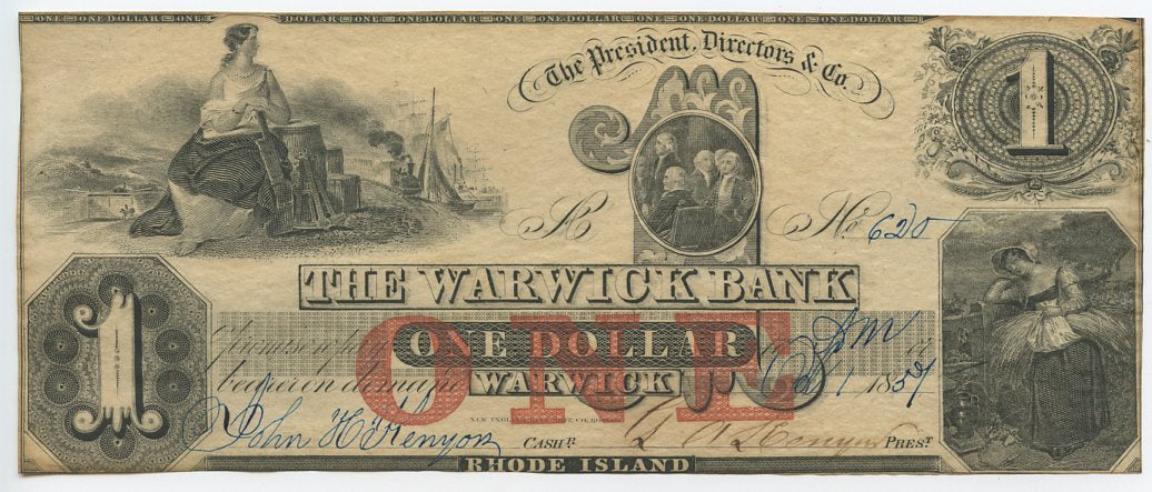 Rhode Island-Warwick, The Warwick Bank $1, October 1, 1857